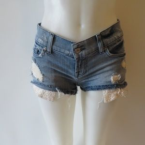 7 FOR ALL MANKIND DISTRESSED DENIM SHORTS SIZE 26